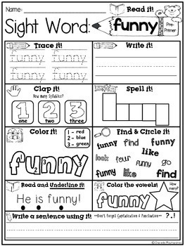 Sight Word Print & Go NO PREP Packet {Dolch Pre-Premier}