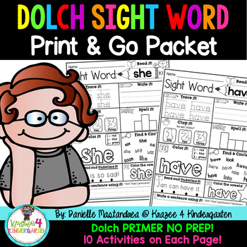 Sight Word Print & Go NO PREP Packet {Dolch Primer}