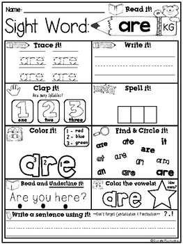 Sight Word Print & Go NO PREP Packet {SIPPS- KG}