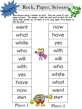 Sight Word Print and Play Game (Primer List)