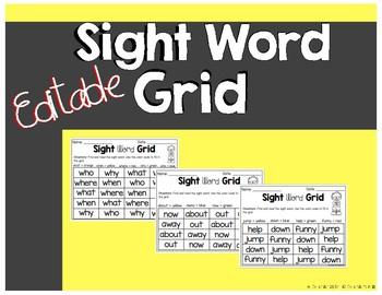 Editable Sight Word Grid
