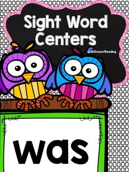 Sight Word Printable Center Activities {was}
