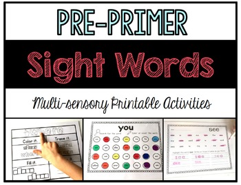 Sight Word Printable Pack: Pre-Primer