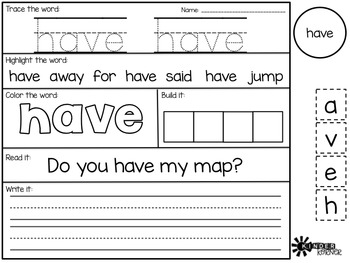 Sight Word Printables {Primer List}