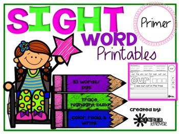 Sight Word Printables {Primer List}