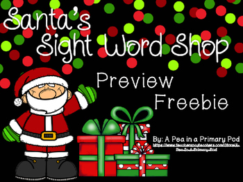Sight Word Printables, Centers, Games Preview Freebie (Christmas/December)