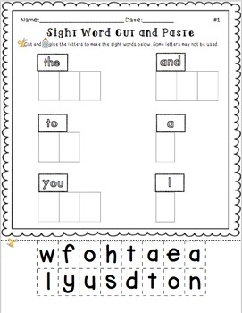 18 Sight Word Printables- Cut n Paste, Rainbow Write, Flash Cards