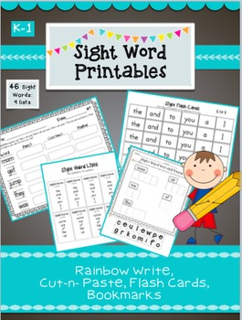 18 Sight Word Printables- Cut n Paste, Rainbow Write, Flash Cards