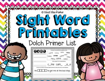 Sight Word Printables - Dolch Primer List