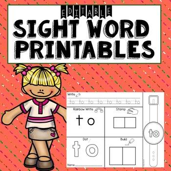 Sight Word Printables- Editable