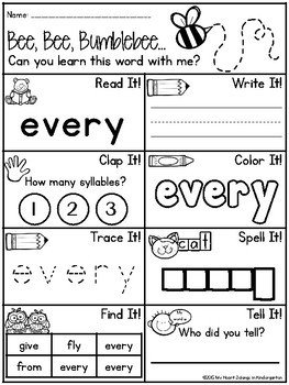 Sight Word Printables FIRST GRADE