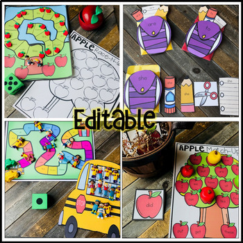 Sight Word Printables, Activities and Games for the Year Editable Bundle