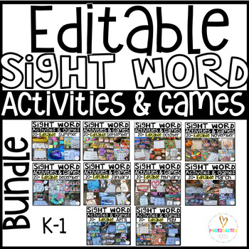 Editable Sight Word Games {Bundle} Hands-on Activities/Printables AUTO-FILL