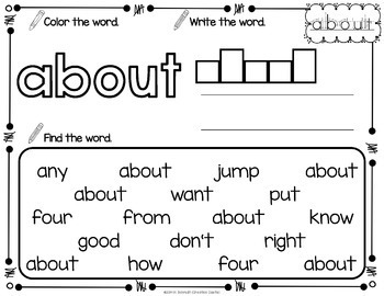 Sight Word Printables with Third Grade Sight Words