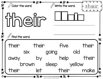 Sight Word Printables with 2nd Grade Sight Words