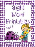 Sight Word Printables: List 1 - 40 Words