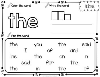 Sight Word Printables with Pre Primer Sight Words
