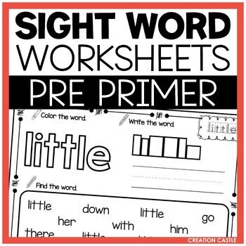 Sight Word Printables - Pre Primer