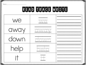 Pre-Primer Sight Word Printables