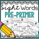 Sight Word Worksheets {Pre-Primer Edition}