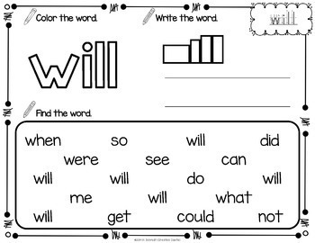 Sight Word Printables with Primer Sight Words