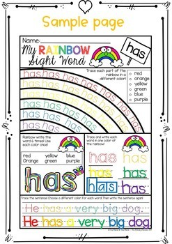 Sight Word Printables (Rainbow theme: First Grade Edition)