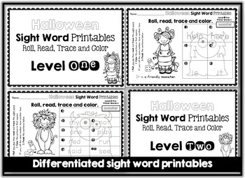 Sight Word Printables: Roll, Read, Trace & Color BUNDLE Pre-Primer Fall