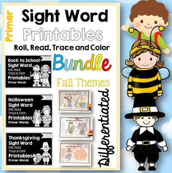 Sight Word Printables: Roll, Read, Trace & Color BUNDLE Primer Fall