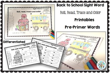 Sight Word Printables: Roll, Read, Trace & Color Back to School Pre-Primer