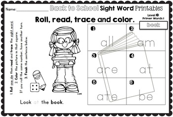 Sight Word Printables: Roll, Read, Trace & Color Back to School Primer Words