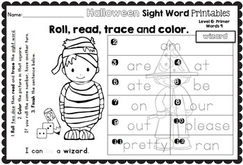 Sight Word Printables: Roll, Read, Trace & Color Halloween Primer Words