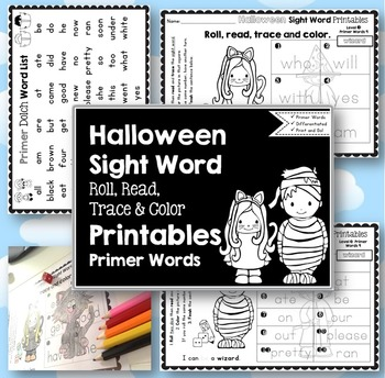 Sight Word Printables: Roll, Read, Trace & Color Halloween