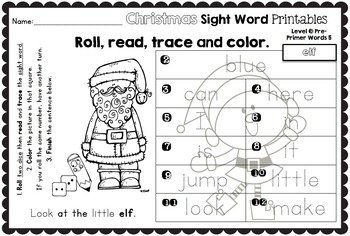 Sight Word Printables: Roll, Read, Trace and Color Christmas Pre-Primer