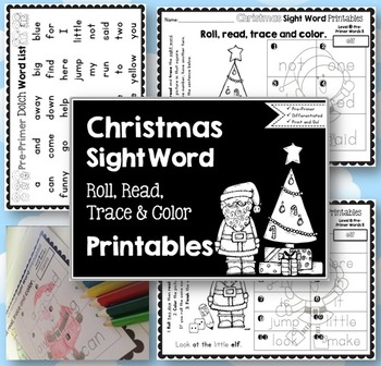 Sight Word Printables: Roll, Read, Trace and Color Christm