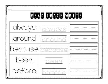 Second Grade Sight Word Printables