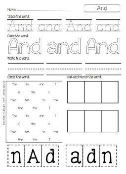 Sight Word Printables by Kinder Tykes