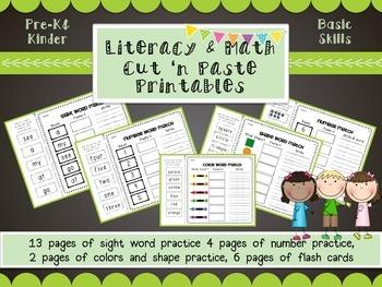 Math & Literacy cut 'n paste printables- sight words, numbers, shape