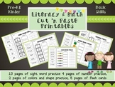 Math & Literacy cut 'n paste printables- sight words, numb