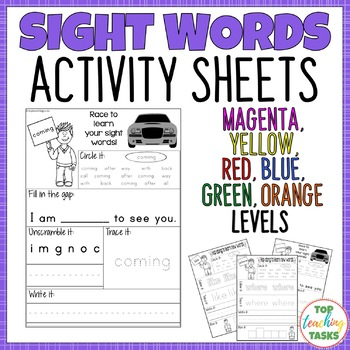 New Zealand Sight Words Activity Sheets for Magenta to Orange