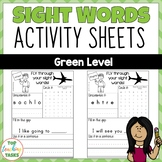 New Zealand Sight Words - Green Level Activity Sheets