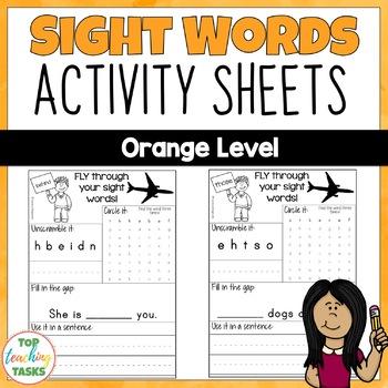 New Zealand Sight Words - Orange Level Activity Sheets