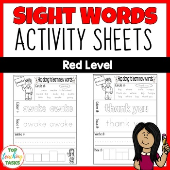 New Zealand Sight Words - Red Level Activity Sheets