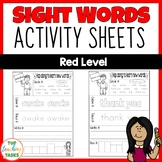 New Zealand Sight Words | Red Level Activity Sheets