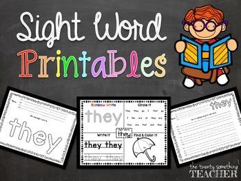 Sight Word Printables {Pre-Primer List +}