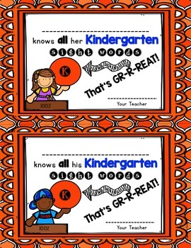 Sight Word Progress Certificates for K-3rd Grade