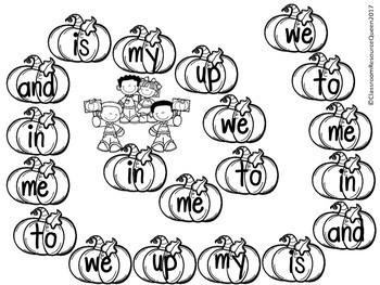 Sight Word Pumpkin Game Bundle