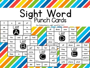 Sight Word Punch Cards