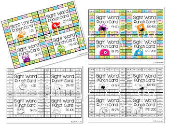 Sight Word Punch Cards - BUNDLE Fry Words 1-1,000 Practice Motivation