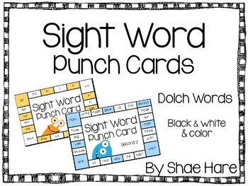Sight Word Punch Cards - Dolch Words 220 Practice Motivation