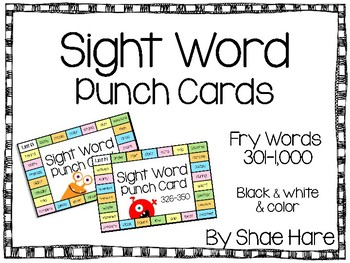Sight Word Punch Cards - Fry Words 301-1,000 Practice Motivation